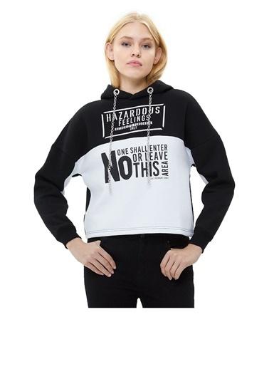 Loft Loft Kapüşonlu Uzun Kollu ve Baskılı Kadın Sweatshirt Siyah